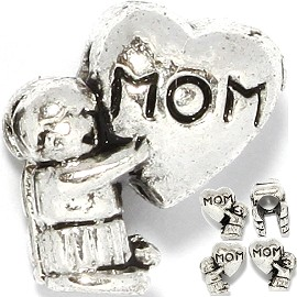 5pcs Charms Kid Heart MOM Silver BD357