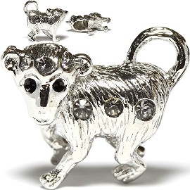 3pc Charm Monkey Rhinestone Gray Screw BD378