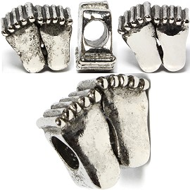 4pc Charms Feet Silver BD421