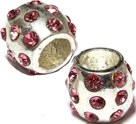2pc Charm Rhinestone Barrel Circle Pink Silver BD432