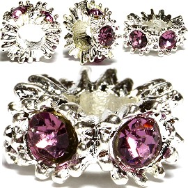 3pcs Charm Rhinestone Round Silver Purple Light BD460
