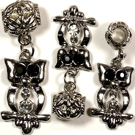 2pc Charm Owl Silver Black BD461