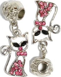 2pcs Charm Rhinestone Cat Hot Pink BD473