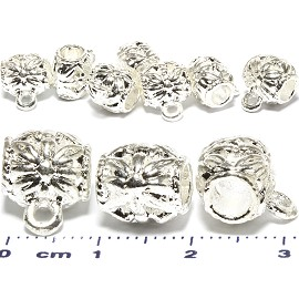 10pcs Dangle Flower Spacer Jewelry Part Silver Tone BD484