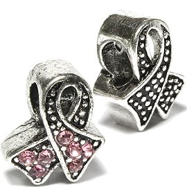 2pc Charms Rhinestones Pink Ribbon Silver BD487