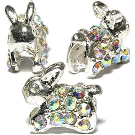3pc Charm Rabbit Rhinestone Silver AB Clear BD538