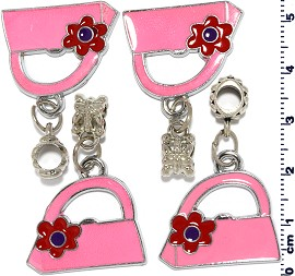 4pcs Pink Red Purse Silver Charm BD559