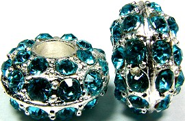 Beads 2pcs Charms Pack Silver Crystal Teal BD732