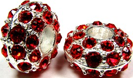 Beads 2pcs Charms Pack Silver Crystal Red BD738