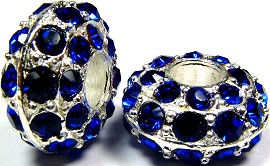 Beads 2pcs Charms Pack Silver Crystal Blue BD740