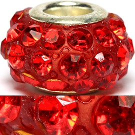2pc Bead Rhinestone Red 14x9mm BD776