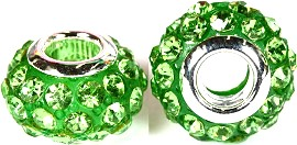 Beads 2pcs Rhinestone Green BD777