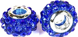 Beads 2pcs Rhinestone Blue BD778