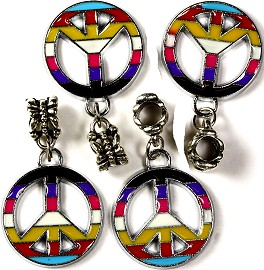 3pcs Charms Peace Sign Colorful BD823