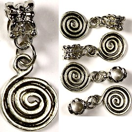 Beads 5pcs Charms Pack Round Swirl Gray BD825