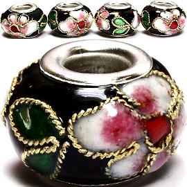 3pcs Beads Cloisonné Black BD952