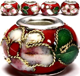 3pcs Beads Cloisonné Red BD955