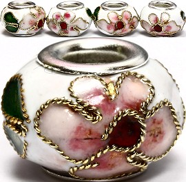 3pcs Beads Cloisonné White BD956