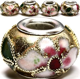 3pcs Beads Cloisonné Gold BD957