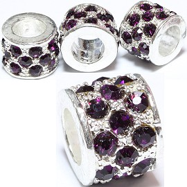 2pc Charm Rhinestone Purple BD977
