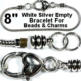"Heart Bracelet Lobster Clasp Beads Charms 8"" White Silver BP067"