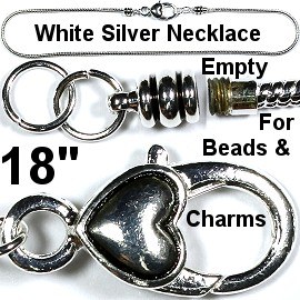 "Heart Necklace Lobster Clasp Beads Charms 18"" White Silver BP068"
