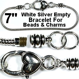 "Heart Bracelet Lobster Clasp Beads Charms 7"" GRAY Silver BP074"