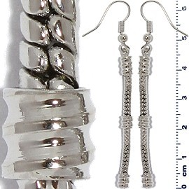 1 Pair Empty Line Earrings Silver BP085