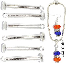 6pc 33x7x7mm Bead Charm Holder Rod Silver BP101
