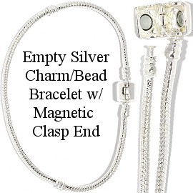 "1pc 9"" Empty Bead Bracelet Magnetic End White Silver BP105"