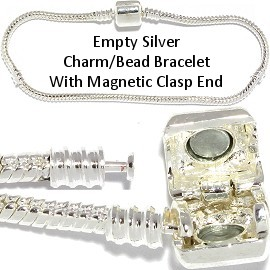 "12pc 7"" Empty Bead Bracelet Magnetic End White Silver BP138K"