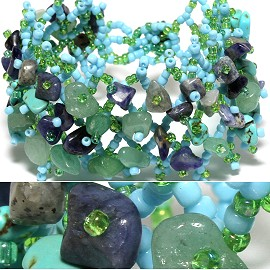 "7"" Bead Stone Bracelet Wide Web Turquoise Purple LT Green CB009"