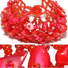 "7"" Bead Shell Bracelet Wide Web Magenta Red CB010"