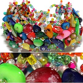 "7"" Bead Shell Bracelet Wide Web Multi Color Party Colors CB013"