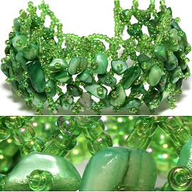 "7"" Bead Shell Bracelet Wide Web Green CB014"