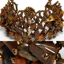 "7"" Stone Bracelet Brown CB048"