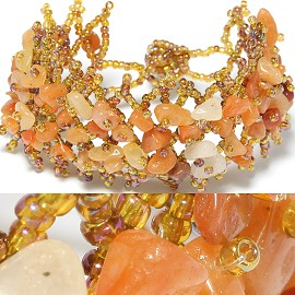"7"" Stone Bracelet Gold Orange CB069"