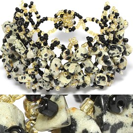 "7"" Bead Stone Bracelet Black Ivory Light Yellow CB115"