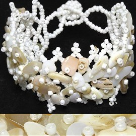 "7"" Bead Shell Bracelet Off White Cream Vanilla Tan CB122"