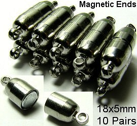 Ends Connect Magnetic Silver 10 Pairs 16x5mm CP6s