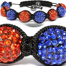 Shamballa Bracelet 13mm Rhinestone Blue Orange CX014