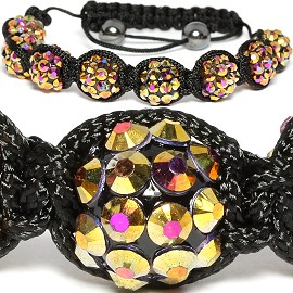 10Pcs Shamballa Bracelet 12mm Crystal Solid Gold Aura CX021