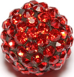 4pcs 13mm Rhinestone Bead Red W/2mm Hole CX055