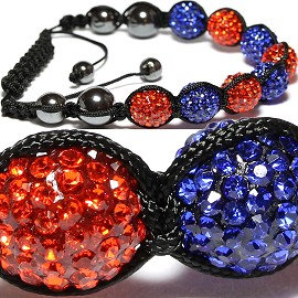 10Pcs Shamballa Bracelet Men Orange Blue CX056