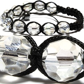 10pcs Shamballa Bracelet 12mm Crystal Round Clear CX074