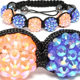 Shamballa Rhinestone Bracelet 14mm Orange Blue CX113