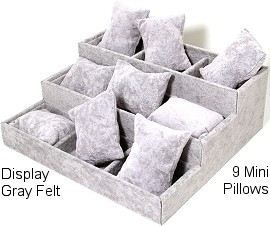 "7.3"" x 8"" Gray Velvet 3 Stair, 9 Mini Pillow Ds167"