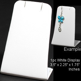 "1pc Display Stand Bendable Flat White Leather Small 3.5"" Ds205"