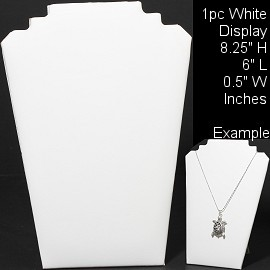 "1pc Necklace Display Stand Flat White Leather 8.25"" Ds210"