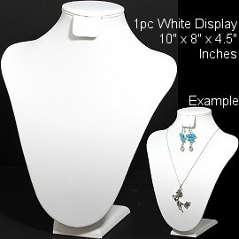 "1pc Bust Display Stand Necklace Earring Holder White 10"" Ds217"